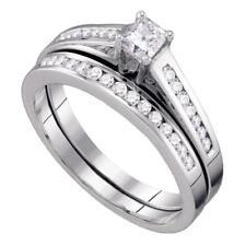 10k White Gold Princess Diamond Bridal Wedding Engagement Ring Set Size 8