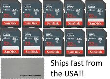 SanDisk 32 GB 32GB Class 10 SD HC Ultra Flash Memory Card - 10 Pack With Cloth