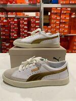 Puma Basket 90680 G Shoes White Gold 367748-02 Men's NEW