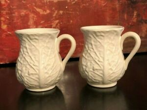 2 NEW Block Subtil Cabbage Leaf White Coffee Tea Mugs Majolica Portugal