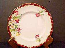 Narcissus Fine Bone China England Decorative Plate Pink/Red Floral Gold Trim 8""