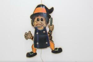 Vintage Halloween Witch String Pull Character Cardstock Scarecrow