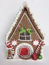 NEW GINGERBREAD MAN HOUSE CLAY XMAS DECOR RETIRED ST. NICHOLAS SQUARE CANDY GIFT