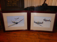 Pair FRAMED GOUACHE World War II RAF Fighter Planes Aeroplanes flying Paintings