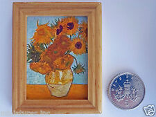 """DOLLS HOUSE MINIATURE PICTURE """"SUNFLOWERS"""" Varnished Wood Frame Handmade 1:12th"""