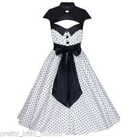 PRETTY KITTY ROCKABILLY 50s WHITE POLKA DOT VINTAGE PIN UP SWING PROM DRESS 8-22