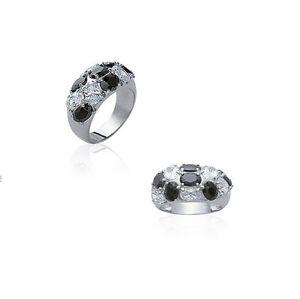 Ring Bangle Nuggets Zircon White & Black Silver New T 50