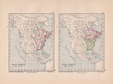 1885 VICTORIAN HISTORICAL MAP ~ NORTH AMERICA BEFORE & AFTER THE WAR