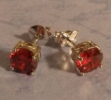 Classic round red ruby 7mm, 18ct WHITE GOLD  filled stud earrings BOXED Plum UK