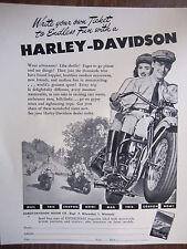 "Vintage 1948 Harley-Davidson Cycle Ad Sign Gypsy Tours ""Endless Fun"""