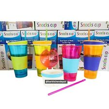 2-in-1 Snackeez Snack Cup Colorful Tumbler Straw