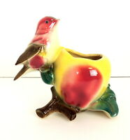 Royal Copley Vintage Bird Planter Ceramic Apple Branches Vase