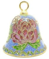 VINTAGE CLOISONNE BELL BLUE PINK MAUVE GREEN ENAMEL OVER YELLOW GOLD TONE BRASS