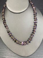 """Vintage Beaded necklace Purple Stone Amethyst Chunky Brass Beaded Necklace 16"""""""