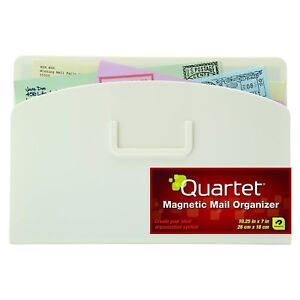 Quartet Magnetic Mail Organizer Storage Pouch, 10 x 7 Inches, White (48123-WT)