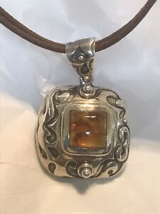 Silpada Sterling 925 Genuine Amber Oxidized Pendant S0908 Leather Necklace N1129