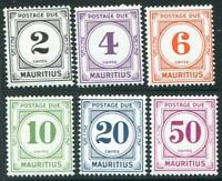 HERRICKSTAMP MAURITIUS Sc.# J8-13 Postage Dues Mint NH , Scarce, Fresh Stock