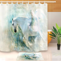 Snowy Winged Horse Bathroom Waterproof Polyester Shower Curtain Hooks Set 72""