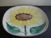 "A. DURHAM ART POTTERY HAND PAINTED SUNFLOWER OVAL WALL PLATE, SIGNED, 11"" X 9"""