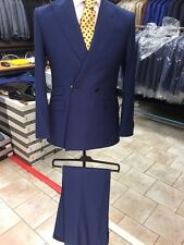 Navy 2 button double breasted Cerruti wool suit with wide peak lapel-Italy