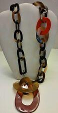 Gorgeous maroon orange natural buffalo horn link designer Necklace