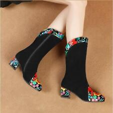Chic Women Suede Leather Floral Embroidered Block Heel Ankle Boots Shoes T677