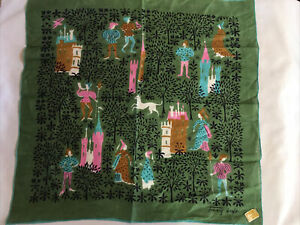 Vintage TAMMIS KEEFE Linen Handkerchief With Kimball TAG Castles Medieval