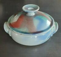 "Stoneware Studio Pottery vented lid Casserole Dish Artist Signed 9""X3"" LARGE VTG"