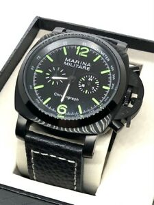 Vintage Marine Military Quartz Chronograph 44mm PVD Black Dial Watch US Seller
