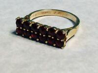 Vintage Gold Wash Over 900 Silver Garnet Ring - 5.5
