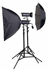 Lencarta UltraPro 300Ws 2 Head Studio Lighting Kit with 1 Softbox & 1 Umbrella