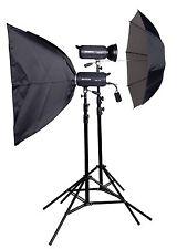Lencarta Ultrapro 300Ws 2 cabeza Kit de iluminación de estudio con 1 & 1 paraguas softbox