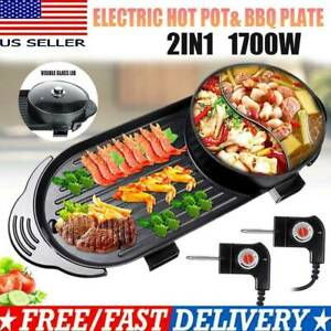 Portable Electric 2 in 1 Hot Pot Barbecue Grill Non-Stick Teppanyaki Pan Soup