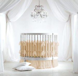 "42"" dia Ruffle Round Crib Bedding set 5Pc Fitted Pillowsham ComforterSkirt Bumpe"