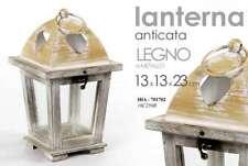 LANTERNA H23*13CM ANTICATA LEGNO METALLO PORTACANDELA INTERNO ESTERNO HIA 701702