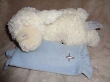 """Lamb Nat & Jules Demdaco Lords prayer Sheep  9"""" blue cross baby blankie blanket"""