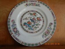 Wedgwood Kutani Crane dinner plate, bone, bird, floral bands, brown trim, R4464