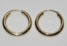 9CT YELLOW GOLD 15mm SLEEPER HOOP EARRINGS -