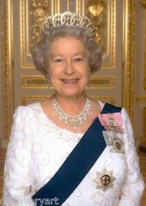 Queen Elizabeth ll Stretched Canvas Wall Art Poster Print Royal Family England