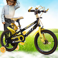 "Yellow - Unisex Chidren Kid's 18"" BMX Bike Bicycle Kids Bicycle w/Stabilisers"
