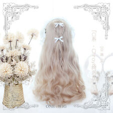 Japanese Lolita Harajuku Women Linen gold Gradient Wig Long Curls Hair Hairpiece