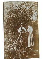 Vintage Real Photo Post Card Brown Tone Gentleman Lady & Downed Tree AZO 1920's?