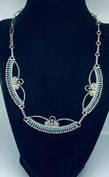 """Authentic Vintage Zuni Cluster RQ PANTEAH Silver Petit Needle Point Necklace 18"""""""
