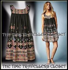 TOPSHOP KATE MOSS AZTEC CHARCOAL BLACK PINK SUN DRESS BOHO FESTIVAL 70s UK 12 14