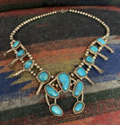 Authentic Vintage Native American Turquoise Sterling Silver Squash Blossom