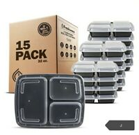 Freshware Bento Luch Meal Prep Containers,15 Pack- 3 Compartment w/Lids. New