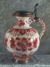 Keramik Krug Weinkrug mit Zinndeckel germarn pottery Westerwald Majolika 60er