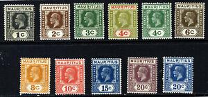 MAURITIUS KG V 1921-34 Die II Part Set Wmk Mult Script CA SG 223 to SG 235a MINT