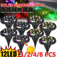 Solar Power Buried Light 4 RGB + 8 LED Lamp Under Ground Lamp Outdoor Way Garden