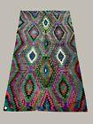 Vintage Turkish Kilim 340x183 cm wool kelim rug Large Purple, Green, Black, Blue